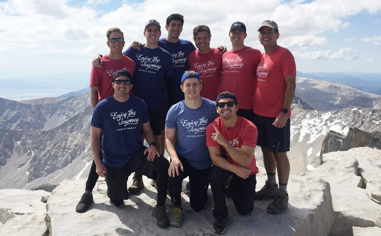 The Hughes Marino hiking crew at the top of Mt. Whitney in California.