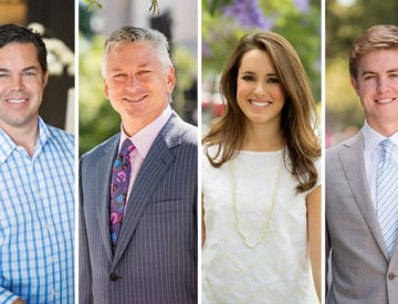 Jason Hughes, David Marino, Star Hughes-Gorup and Tucker Hughes were all named brokers of the year by the Irvine Company