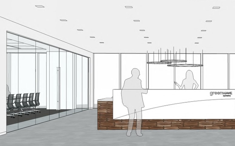 Rendering of Greenwave system's office reception area in their future Orange County home.